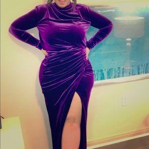 Velvet Maxi Dress with thigh split house of cb